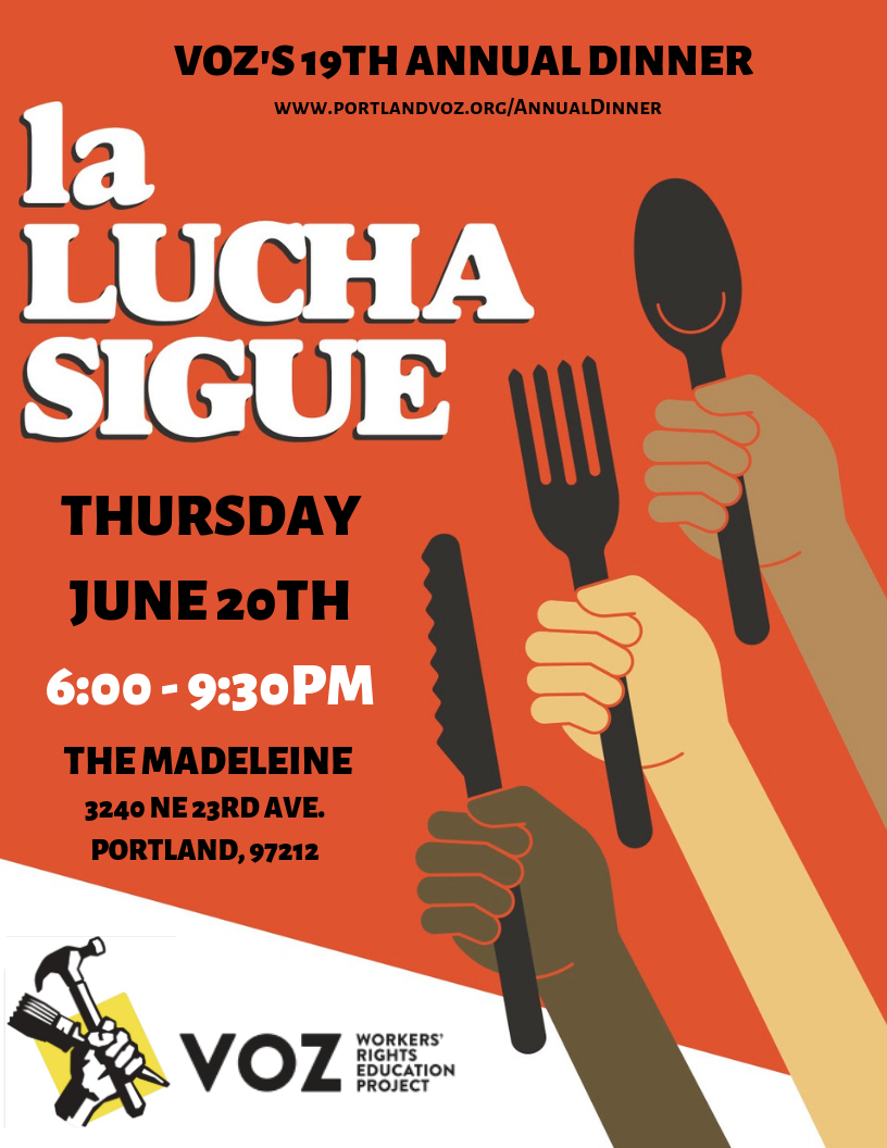 La Lucha Sigue Flyer shows hungry hands holding eating utensils, ready to enjoy Voz's 19th annual dinner on June 20th, 2019